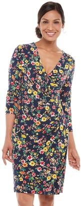 Chaps Women's Print Faux-Wrap Dress