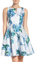 Gabby Skye Floral Shantung Fit & Flare Dress