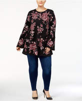 Style&Co. Style & Co Plus Size Cotton Floral Jacquard Tunic, Created for Macy's