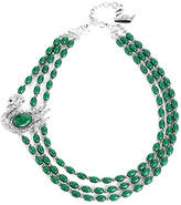 Novadab Women's Necklaces - Green & Rhinestone Swan Layered Beaded Necklace