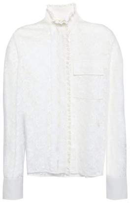 Chloé Ruffle-trimmed Cotton-blend Corded Lace And Crepe De Chine Blouse