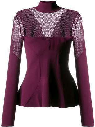 Karl Lagerfeld Paris pointelle-panelled knitted sweater
