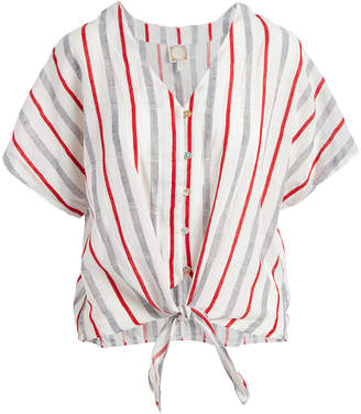 Tru Self Women's Blouses White/Red/Chambray - White & Red Stripe Tie-Front Top - Women