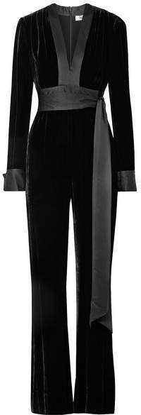 Diane von Furstenberg Satin-trimmed Velvet Jumpsuit - Black
