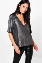 Boohoo Olivia Metallic Oversized Plunge T-Shirt