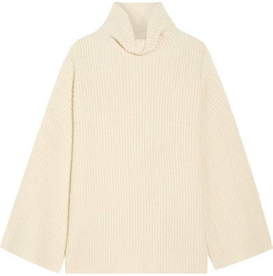 The Row Violina Oversized Ribbed Cashmere Turtleneck Sweater - Off-white