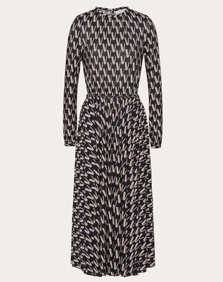 Valentino Printed Jersey Dress Women Black Viscose 97%, Elastane 3% L