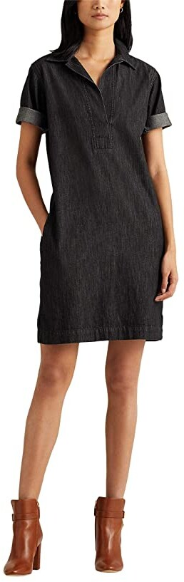 Lauren Ralph Lauren Denim Shift Dress (Nightfall Wash) Women's Dress