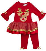 Rare Editions Girls 2-6x Reindeer Top and Pants Set