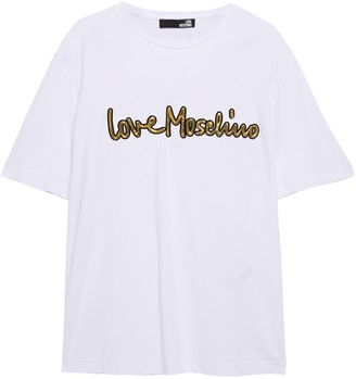 Love Moschino Metallic Appliqued Cotton-jersey T-shirt