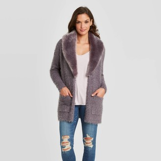 Knox Rose™ Women's Cardigan with Removable Faux Fur Collar - Knox RoseTM Gray