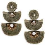 Natasha Crystal Tassel Tiered Earrings