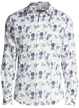 John Varvatos Floral Slim-Fit Cotton Shirt