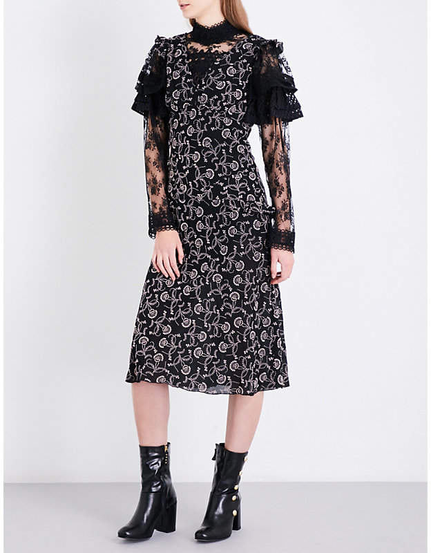 Anna Sui Textured floral-embroidered silk dress