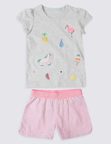 Marks and Spencer Pure Cotton Short Pyjamas (9 Months - 8 Years)