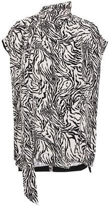 Proenza Schouler Wrap-effect Cutout Draped Zebra-print Crepe Blouse