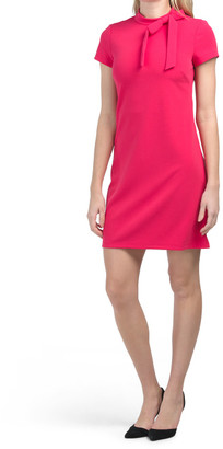Cap Sleeve Shift Dress With Bow Neck