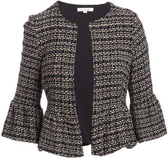 Minna Women's Blazers Black - Black & Taupe Houndstooth Tweed Bell-Sleeve Open Blazer - Women & Plus