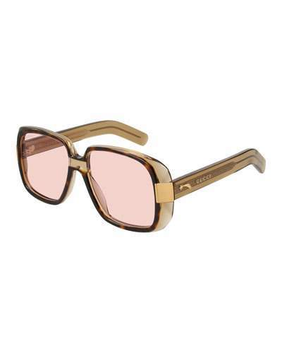 Gucci Oversized Square Acetate Sunglasses, Brown Pattern/Pink