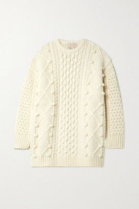 Christopher Kane Oversized Cable-knit Wool-blend Sweater - Ivory