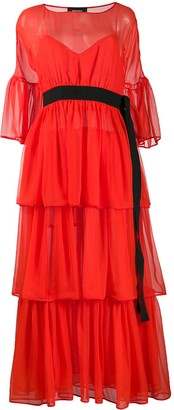 Rochas Belted Ruffled Dress