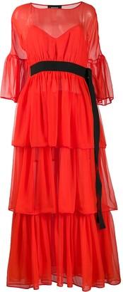 Rochas belted ruffled dress