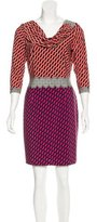 David Meister Abstract Print Cowl Neck Dress