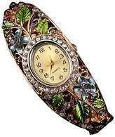ABC Women's Watch, Women's Crystal Flower Bangle Watch Bracelet Quartz Wrist Watch