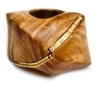 Kara Ross Gold, Maple Wood and Diamond Coil Ring