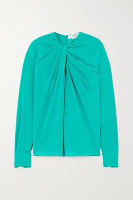 Victoria Beckham Twist-front Silk-crepe Blouse - Mint
