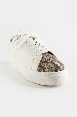 Qupid Animal Print Lace Up Sneaker - Snake