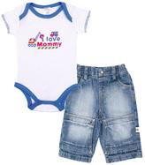 Kushies White 'I Love Mommy' Bodysuit & Denim Pants - Infant