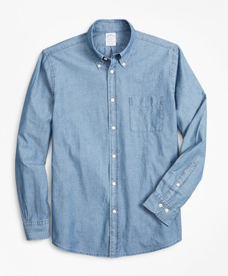 Brooks Brothers Regent Fitted Sport Shirt, Indigo Chambray