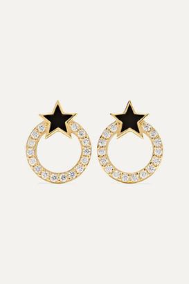 Sydney Evan Star 14-karat Gold And Enamel Diamond Earrings