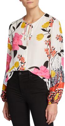 Kobi Halperin Noelle Floral Print Tie-Neck Blouse