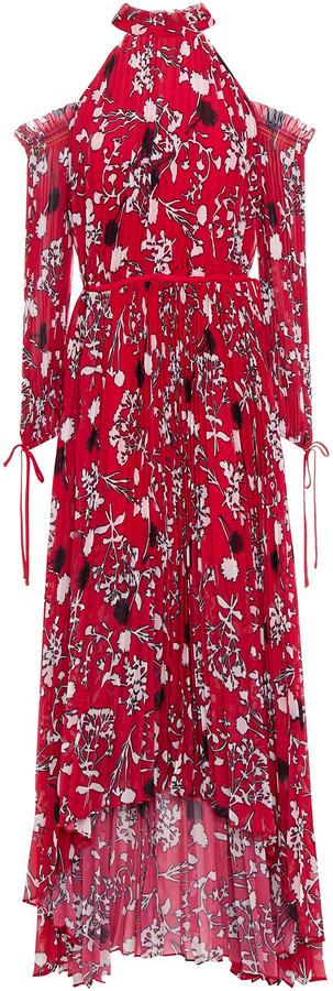 Self-Portrait Cold-shoulder Floral-print Chiffon Dress