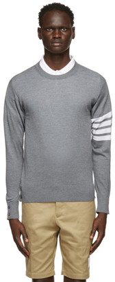 Thom Browne Grey Merino 4-Bar Sweater