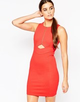 Adelyn Rae Zip Front Dress with Cut Out Detail