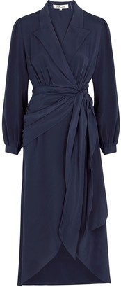 Diane von Furstenberg Stella navy silk wrap dress