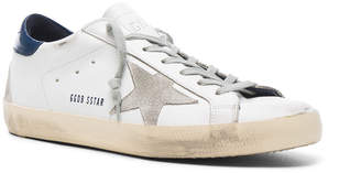 Golden Goose Leather Superstar Low Sneakers in White & Blue | FWRD