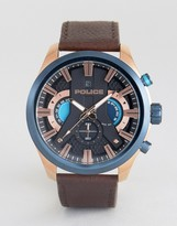 Police Cyclone Date Watch Black Dial With Brown Leather Strap