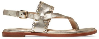 Cole Haan Anica Scallop Metallic Leather Slingback Thong Sandals