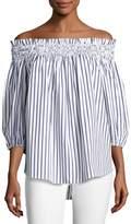 Caroline Constas Lou Off-the-Shoulder Stripe Cotton Top, Blue/White