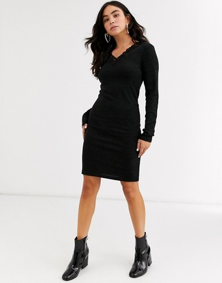 Pieces Jalimai long sleeve v neck dress-Black