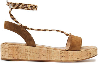Gianvito Rossi Antibes Leather-trimmed Suede Platform Sandals