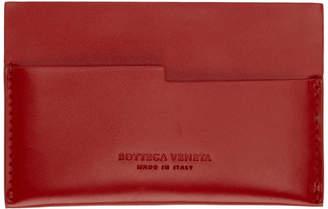 Bottega Veneta Red Spazzolato Card Holder