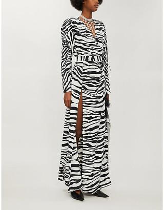 ATTICO Zebra-print satin-crepe maxi wrap dress