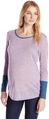Three Seasons Maternity Women's Long Sleeve Large Cuff 2 Color Top