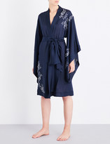 Carine Gilson Chantilly lace-trim silk-crepe kimono robe