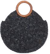 Kayu Coco Round Woven Tote W/wooden Handles In Black